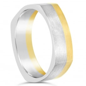 Mens 18ct White & Yellow Gold Shaped 5.5mm Wedding Band