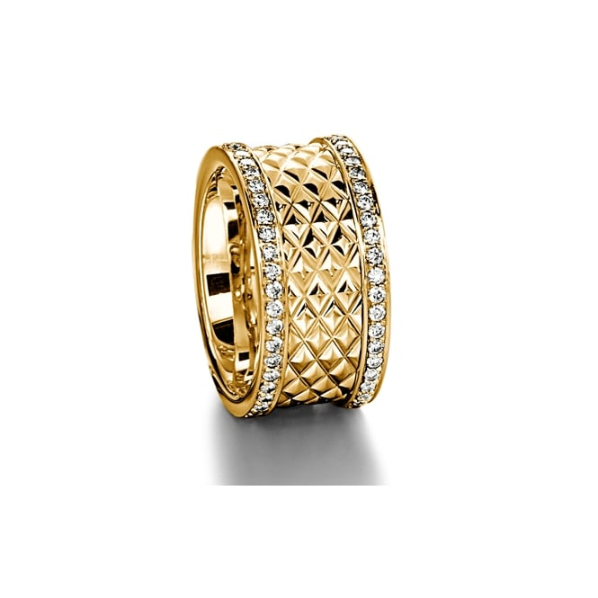 Furrer Jacot Mens 18ct Yellow Gold 0.900ct 11mm Patterned Wedding Ring