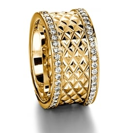Mens 18ct Yellow Gold 0.900ct 11mm Patterned Wedding Ring