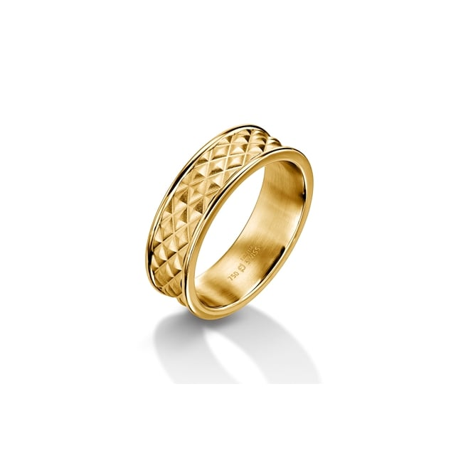 Furrer Jacot Mens 18ct Yellow Gold 7mm Textured Wedding Ring