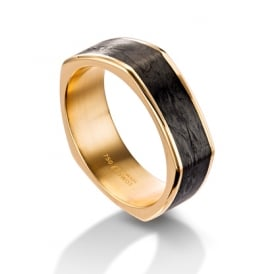 Mens 18ct Yellow Gold & Carbon Fibre Shaped Wedding Band