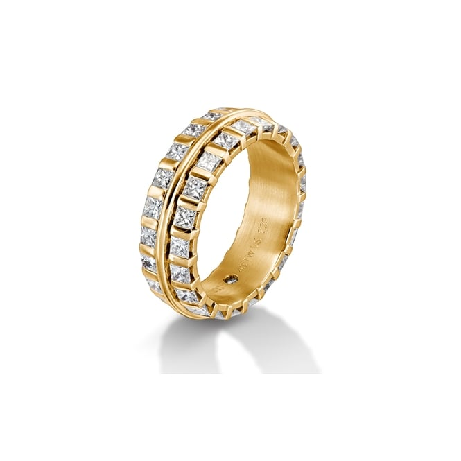 Furrer Jacot Mens 18ct Yellow Gold Fully Set 2.20ct Wedding Band