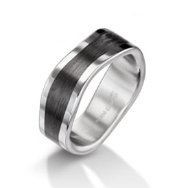 Mens 8mm Palladium & Carbon Fibre Shaped Wedding Ring