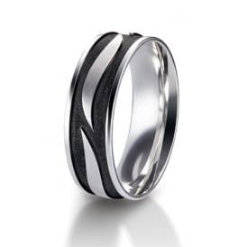 Mens Palladium & Black Rhodium 7mm Patterned Wedding Band