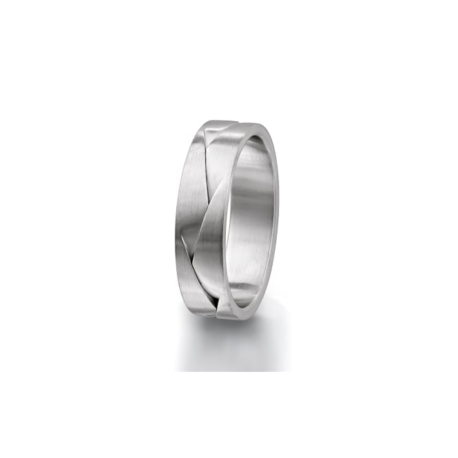 Furrer Jacot Mens Platinum 8mm Patterned Wedding Ring