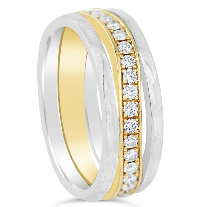 Furrer Jacot Palladium & 18ct Yellow Gold Diamond Set 0.540ct Wedding Band