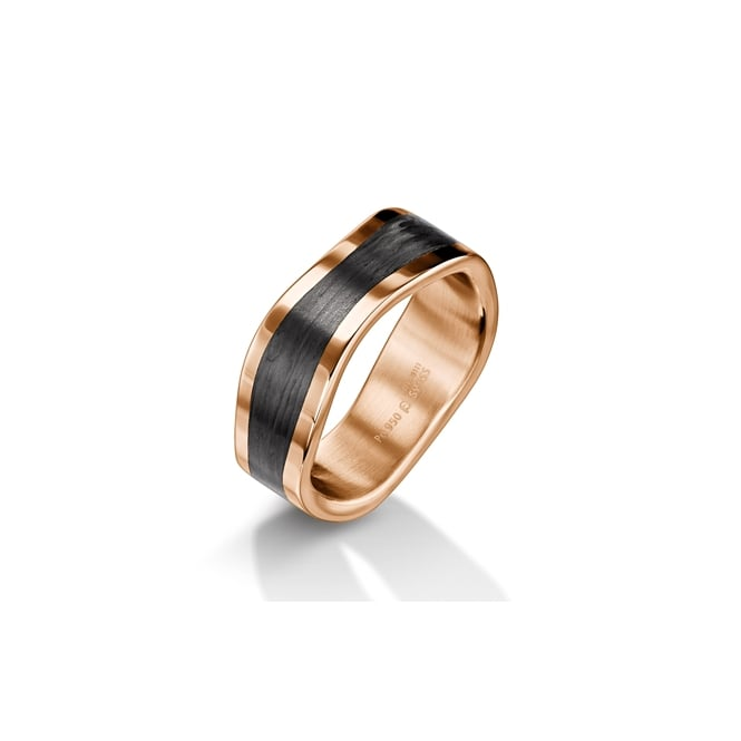Furrer Jacot Plain 18ct Red Gold & Carbon Fibre Shaped Ring