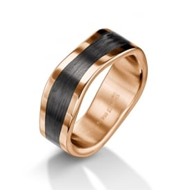 Plain 18ct Red Gold & Carbon Fibre Shaped Ring
