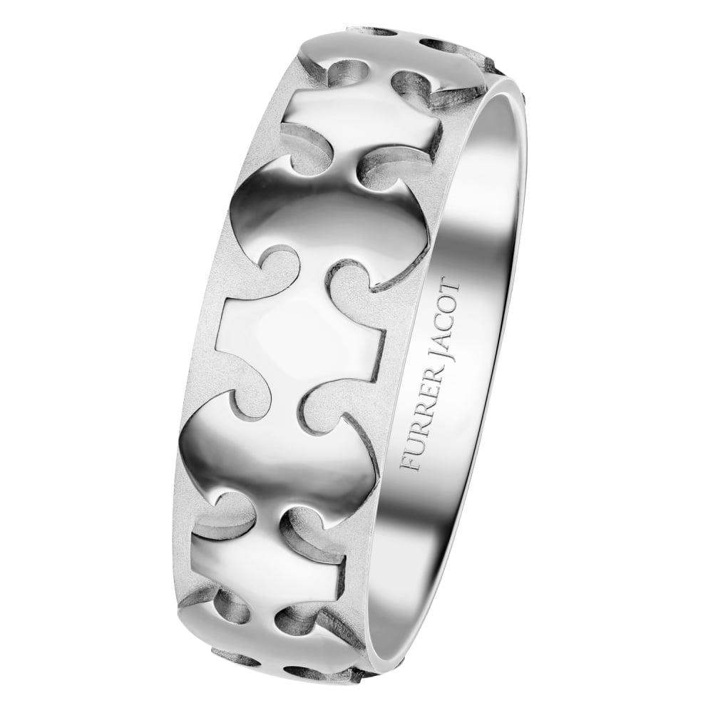 18ct White Gold 8mm SciFi Wedding Ring