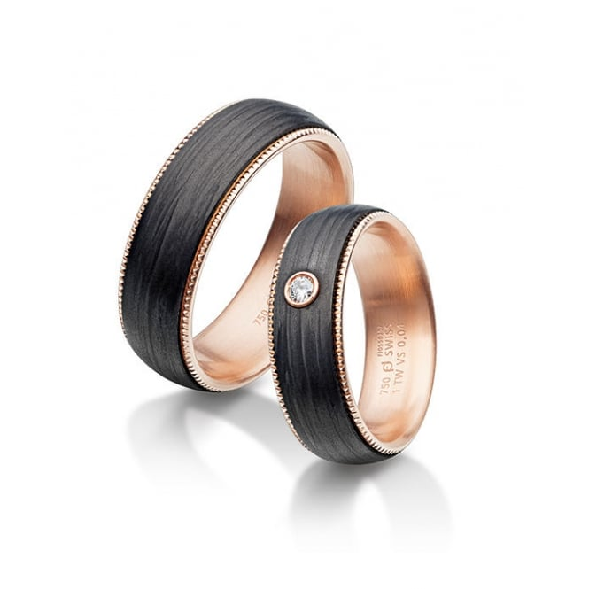 Furrer Jacot Plain 6mm 18ct Rose Gold & Carbon Fibre Wedding Ring