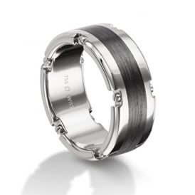 Plain Palladium & Carbon Fibre Wedding Ring