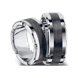 Unisex 8.5mm Palladium & Carbon Fibre Diamond Set Ring