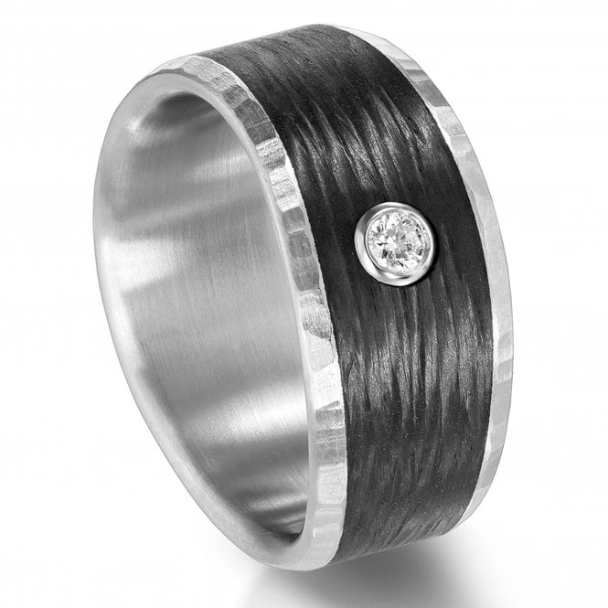 Furrer Jacot Wide Carbon Fibre and Diamond Ring