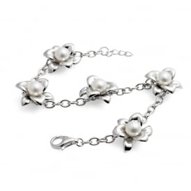 Sterling Silver Lily White Freshwater Pearl Bracelet