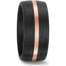 10mm Carbon Fibre And 14ct Rose Gold Wedding Ring