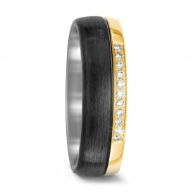 18ct Yellow Gold & Carbon Fibre 0.11ct Diamond Wedding Ring