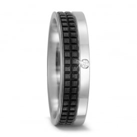 6mm Titanium & Carbon Fibre 0.02ct Diamond Wedding Ring