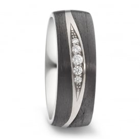 7mm Titanium & Carbon Fibre 0.09ct Diamond Wedding Ring