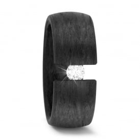 8mm Carbon Fibre Tension Set 0.15ct Diamond Wedding Ring