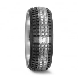 8mm Titanium & Carbon 0.025ct Textured Diamond Ring