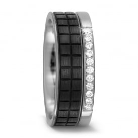 8mm Titanium & Carbon Fibre 0.11ct Diamond Wedding Ring