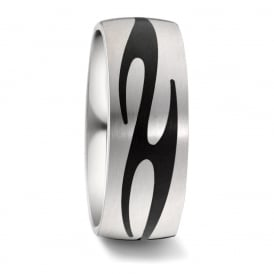 8mm Titanium & Carbon Fibre Patterned Wedding Ring