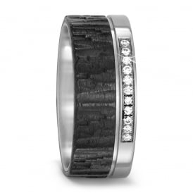Carbon & Titanium 9mm Structured 0.11ct Diamond Set Ring