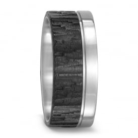 Carbon & Titanium 9mm Structured Wedding Ring