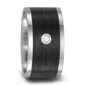 Mens 12mm Carbon Fibre & Titanium Diamond Set Wedding Band