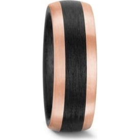 Mens 14ct Rose Gold And Carbon Wedding Ring