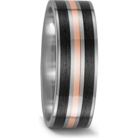Mens 18ct Red Gold And Carbon Fibre Wedding Ring