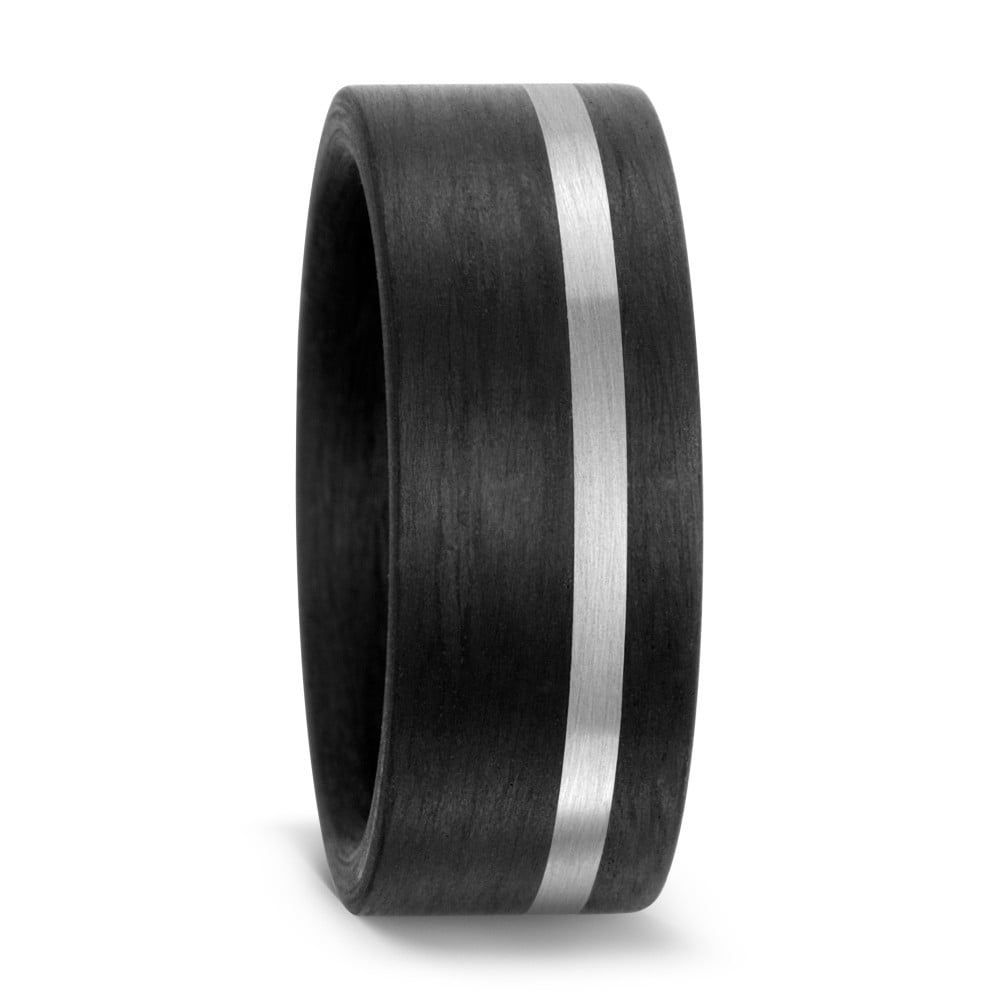 Mens Black Carbon Fibre Palladium Wedding Ring