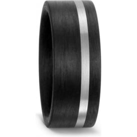 Mens 8mm Black Carbon Fibre & Palladium Wedding Ring