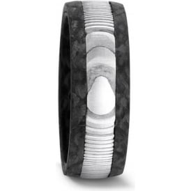 Mens 8mm Carbon Fibre And Steel Wedding Ring
