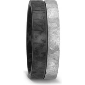 Mens 8mm Carbon Fibre And Titanium Wedding Ring