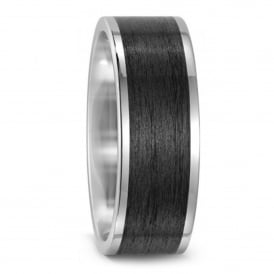 Mens 8mm Carbon Fibre & Titanium Wedding Band