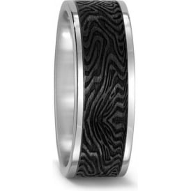 Mens 8mm Patterned Carbon And Titanium Wedding Ring