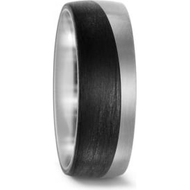 Mens 8mm Titanium And Carbon Wave Wedding Ring