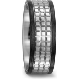 Mens Carbon And Titanium Patterned Wedding Ring