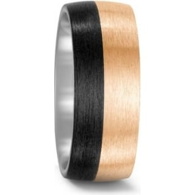 Mens Carbon Fibre And Bronze Matte Wedding Ring