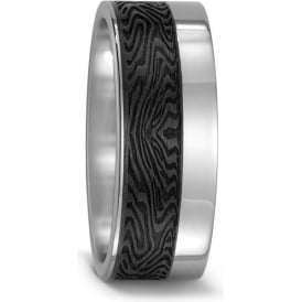 Mens Patterned Carbon And Titanium Wedding Ring