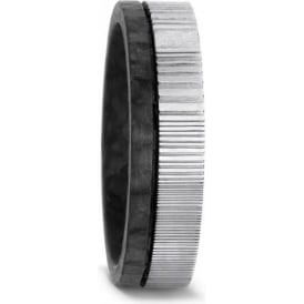 Mens Patterned Carbon Fibre & Stainless Steel Wedding Ring