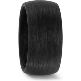 Mens Plain Black 10mm Carbon Fibre Wedding Ring