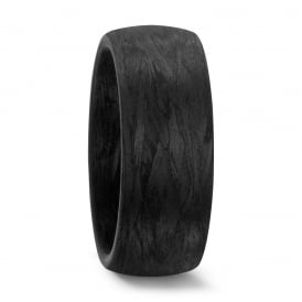 Mens Plain Black 8mm Carbon Fibre Wedding Ring
