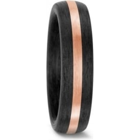 Unisex 14ct Rose Gold And Carbon Wedding Ring