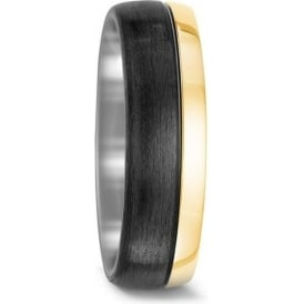 Unisex 18ct Gold And Carbon Wedding Ring