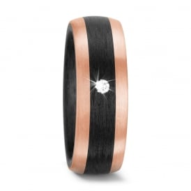 Unisex 18ct Rose Gold & Carbon Fibre 0.05ct Diamond Ring