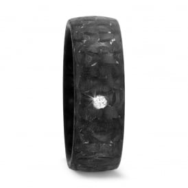 Unisex 7mm 0.03t Diamond Set Carbon Fibre Wedding Ring
