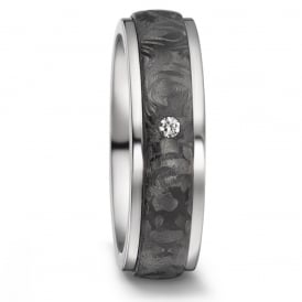 Unisex 7mm Titanium & Carbon 0.03ct Single Diamond Ring
