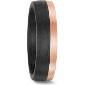 Unisex Carbon And 14ct Rose Gold Wedding Ring